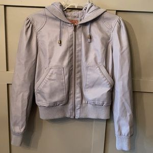 Miss London Faux Leather Bomber Jacket Gray Large